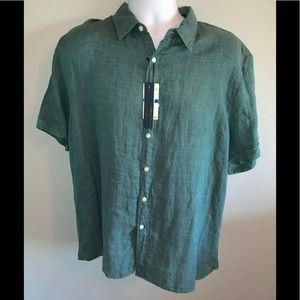 NWT Perry Ellis Men's XL SS Linen Button-up Shirt